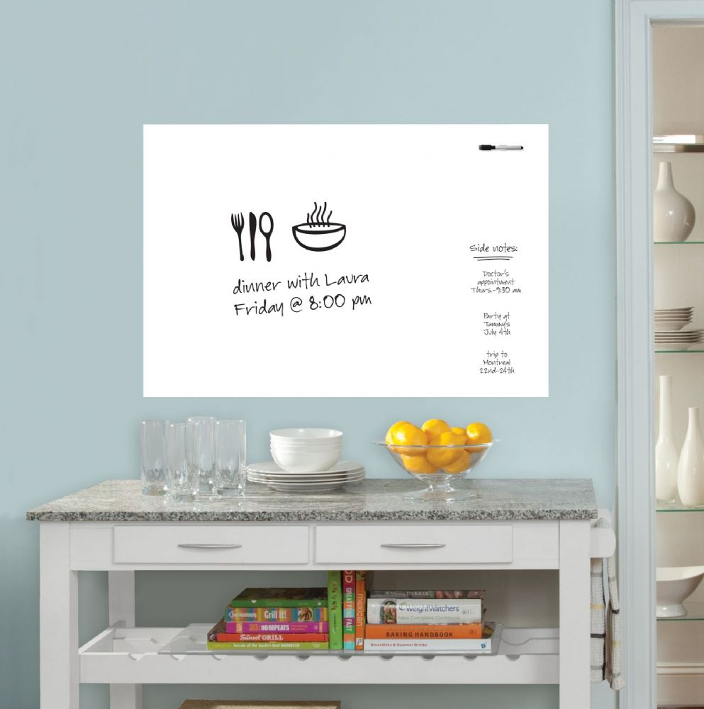 Large Plain Dry Erase Wall Art Sticker with Pen 90968